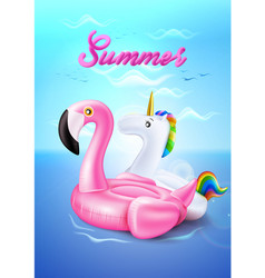 flamingo unicorn inflatable ring on beach vector image vector image