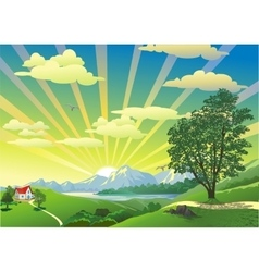 Landscape - the house on the hill in the vector image