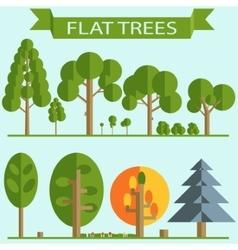 Set of Green Trees Flat Design vector image