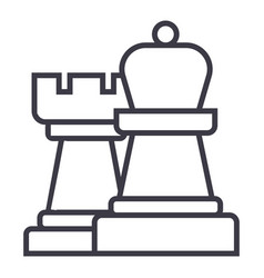 strategychess line icon sign vector image vector image