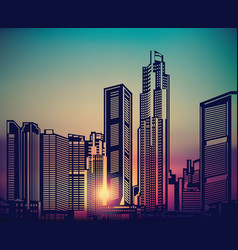 abstract city landscape sunset sky vector image