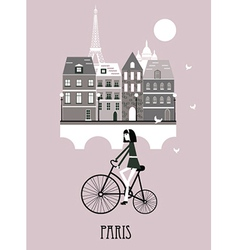 Girl on a bicycle in Paris vector image vector image