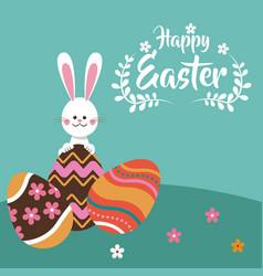 happy easter rabbit egg festive vector image