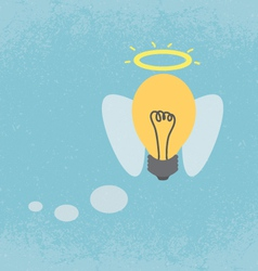 Idea light bulb with angel wings vector image