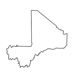 mali map of black contour curves on white vector image