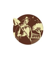 Organic Farmer Holding Shovel Farm Circle Woodcut vector image