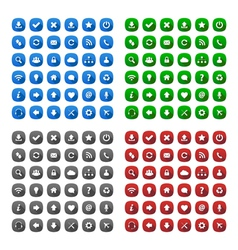 Rounded square long shadow style icons vector image vector image