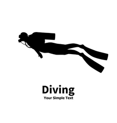 silhouette of diver vector image
