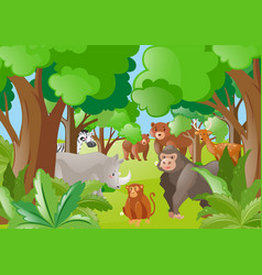wild animals in the green forest vector image