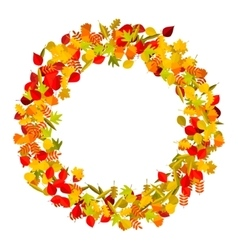 Wreath from yellow autumn leaves design element vector