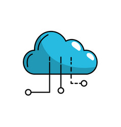 cloud data with circuits to digital connection vector image vector image