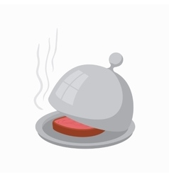 Dish with lid icon cartoon style vector image