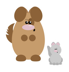 dog and cat surprised vector image