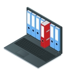 File cabinets inside the screen of laptop computer vector image vector image