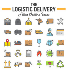 logistic filled outline icon set delivery symbols vector image vector image