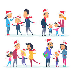 set of different families on white background vector image vector image
