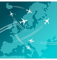 Airplanes flying over map of Europe travel design vector image vector image