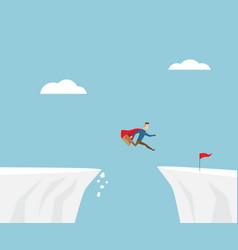 businessman jumping to red flag at cliff vector image