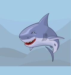 cartoon comic shark with malignant smile vector image