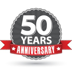 Celebrating 50 years anniversary retro label with vector image