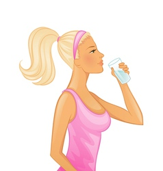 drinking woman vector image vector image