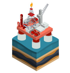 isometric oil producing offshore platform vector image