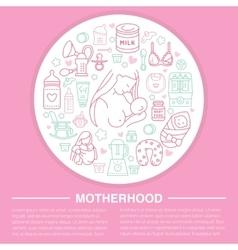 Motherhood poster template line vector image