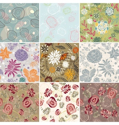 set of seamless floral background vector image vector image