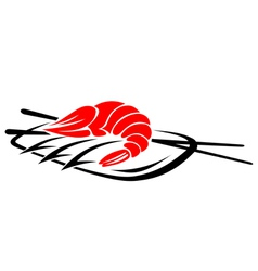 Shrimp seafood with rice and chopsticks vector image