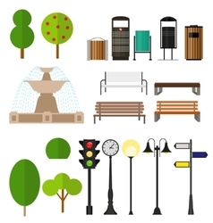 Street City Flat Design Elements vector image