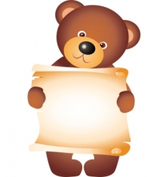 teddy bear with blank vector vector image vector image