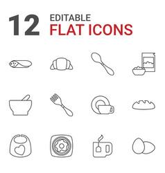 12 breakfast icons vector