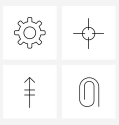 4 universal line icons for web and mobile gear vector