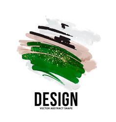 Abstract watercolor ink green beige organic vector