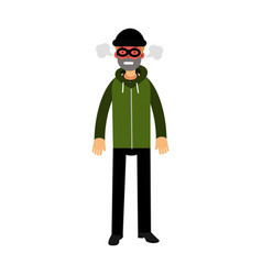 Angry robber character with red face under mask vector