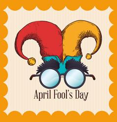 April fools day hat joker glasses vector