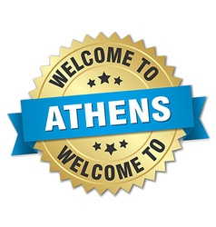 Athens 3d gold badge with blue ribbon vector