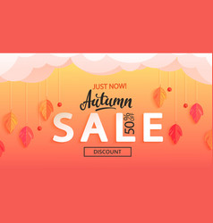 autumn sale banner just now discounts vector image