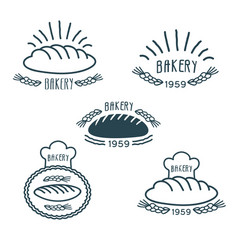bakery logos set with bread and spikelets vector image