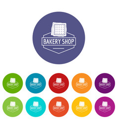 bakery product icons set color vector image