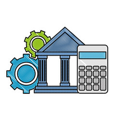 bank building with calculator and gears vector image