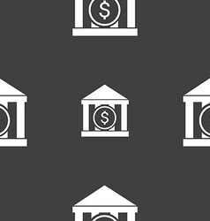 bank icon sign Seamless pattern on a gray vector image