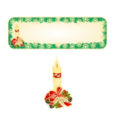Banner Christmas Spruce with candle and pine cone vector
