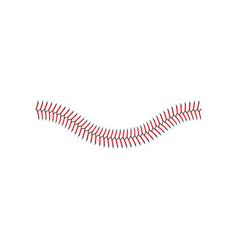 Baseball lace or decorative red seam curved vector
