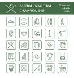 Baseball softball sport game line icons vector