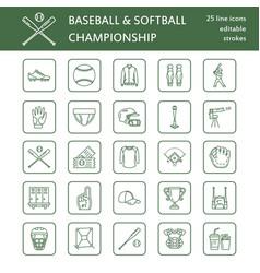 baseball softball sport game line icons vector image