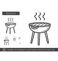 BBQ grill line icon vector image