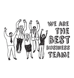 Best business team happy workers black and white vector image