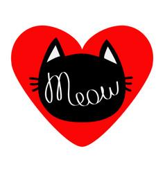 black cat head silhouette shape meow lettering vector image