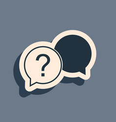 Black chat question icon isolated on grey vector